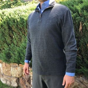 CHAPS Cotton Sweater 1/4 Zip Pullover Dark Gray